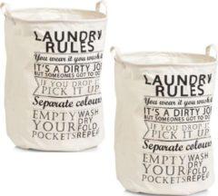 Creme witte 2x Ronde creme wasmanden van stof 38 x 48 cm - Zeller - Huishouding/huishouden - Schoonmaakartikelen - Was sorteren/verzamen - Wasgoedmanden/wasmanden - Ronde wasmanden