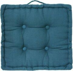 Atmosphera DELUXE stoelkussen blauw 40 x 40 H8 cm - Extra dik met handvat - 4 Knopen - Vloerkussen - Loungekussen
