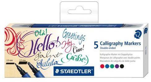 Afbeelding van Kalligrafiepen Staedtler duo punt 2.0 en 3.5mm 5st assorti