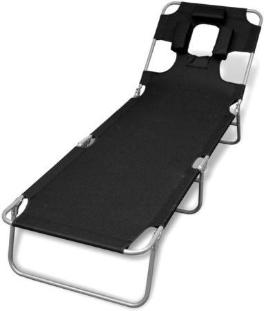 Afbeelding van Zwarte VidaXL Ligstoel met hoofdkussen en verstelbare rugleuning inklapbaar zwart