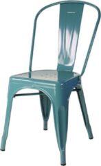 Legend industriële café stoel - metalen eetkamerstoel - Zeeblauw