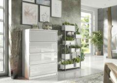 Pro-meubels - Ladekast - Ribera - 4 Lades - 70cm - Hooglans wit - Commode