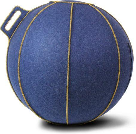 Afbeelding van Blauwe Zitbal - Velt - met gele stiknaden - Ø60-65 - Blauw - Vluv