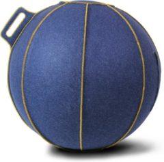 Blauwe Zitbal - Velt - met gele stiknaden - Ø60-65 - Blauw - Vluv