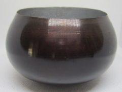 ZoeZo Design Kleine metalen pot met hogere achterkant, in donker bruin/zwart met grijze metalen binnenzijde. Set van 2 stuks. 7,5 x 11,5 cm Ø