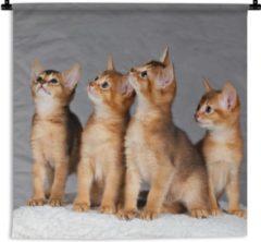1001Tapestries Wandkleed Abessijn - Vier schattige Abessijn kittens Wandkleed katoen 60x45 cm - Wandtapijt met foto