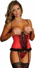 Rode Merkloos / Sans marque Cupless Corset & G-String - Red - Maat S - Lingerie For Her - red - Discreet verpakt en bezorgd
