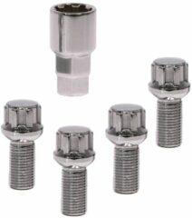 Zilveren Carpoint Anti-diefstal Wielbouten M14 X 1,5 L25 Conisch 4 Stuks