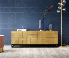 DELIFE TV-meubel Oro acacia natuur 140x40x49 cm Puzzel reliëf