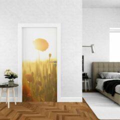 Groene Wallstation Deursticker Bloemen 12 - 100 x 250 cm - Gratis installatie-kit - Snelle levering