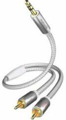 Inakustik 00410005 Cinch / Jackplug Audio Aansluitkabel [2x Cinch-stekker - 1x Jackplug male 3.5 mm] 5.00 m Wit, Zilver Vergulde steekcontacten