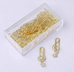 Merkloos / Sans marque 20x Paperclip Muzieksleutel Goudkleurig - Paperclip Muziek - G-Sleutel - 3,5 cm