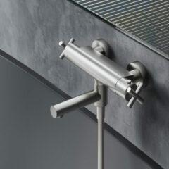 Douche Concurrent Badkraan Hotbath Chap 15cm Hartafstand Thermostatisch Opbouw Geborsteld Nikkel met Uitloop