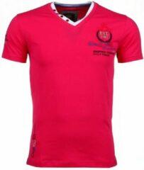 David Copper Italiaanse T-shirts - Korte Mouwen Heren - Riviera Club - Roze Italiaanse T-shirt - Korte Mouwen Heren - Borduur Automobile Club - Blauw Heren T-shirt Maat L