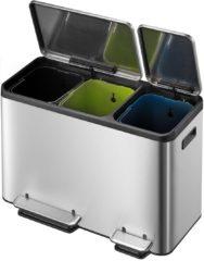 Roestvrijstalen EKO Pedaalemmer EcoCasa 15+15+15 ltr - Mat/RVS - Afvalemmer voor afvalscheiding