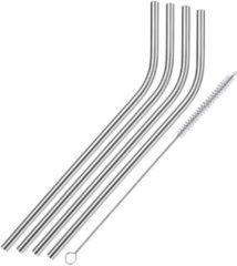 Zilveren Merkloos / Sans marque 4x Gebogen rietjes inclusief reinigingsborstel - RVS - herbruikbaar / duurzaam / milieubewust