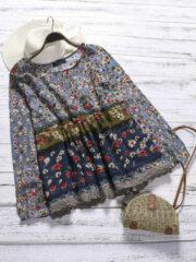 Newchic Floral Print Patchwork Long Sleeve Lace Plus Size Blouse