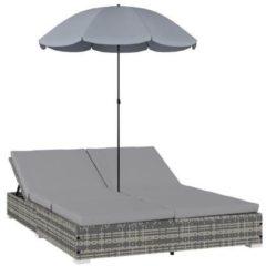 Groene VidaXL Loungebed met parasol poly rattan grijs