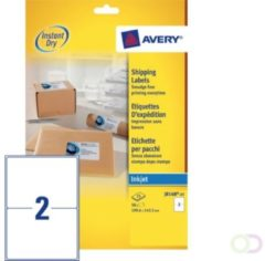 Witte Merkloos / Sans marque Huismerk Avery J8168-25 Inkjet Printer Etiket 199,6x144,5mm