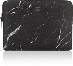 Zwarte Wouf Black Marble laptophoes met dessin 13 inch
