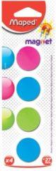 Maped Office Maped magneten op blister diameter 27 mm, 4 stuks, 1 kleur per blister (groen, blauw of fuchsia)