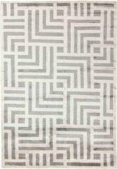 MOMO Rugs - Cosmou Avenue Vloerkleed - 140x200 cm - Rechthoekig - Laagpolig Tapijt - Retro, Scandinavisch - Beige, Grijs