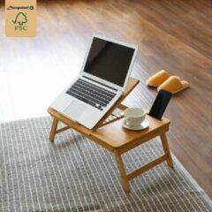 Laptoptafel voor op Bank of bed van bamboe hout - Met Telefoon & Tablet houder - Hoogte verstelbaar, kantelbaar & Inklapbaar - Bedtafel / Banktafel voor laptop, boek, tablet - Ontbijt op bed tafel - Decopatent®