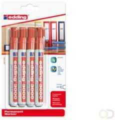 Rode Bruna Viltstift edding 3000 rond rood 1.5-3mm blister a 4st