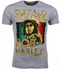 Grijze T-shirt Korte Mouw Mascherano T-shirt - Bob Marley Buffalo Soldier Print