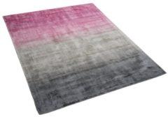 Roze Beliani Ercis Vloerkleed Kunstzijde 160 X 230 Cm