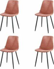 Kuipstoel - Set van 4 - Roze - merk Troon Collectie - Velvet - Zwart metalen onderstel - Eetstoelen - Eetstoel - Ariane - Gestikt ruitjespatroon