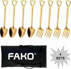 Fako Bijoux® - Gebak Bestek - Dessert Bestek - Schep & Hark - Goud - 4 Sets