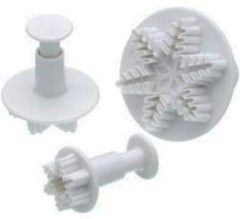 Witte Pretty Things Plunger cutter / uitsteker - set van 3 - sneeuwvlokken