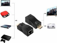 TrendParts HDMI Male naar RJ45 Extender Adapter Ontvanger (Receiver + Transmitter)|Cat-5e/6 Kabel| 4K Tot 30M|Premium Kwaliteit|Zwart