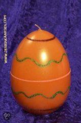 Designkaarsen.com Paasei Kaars XXL, oranje, H15 cm, breedte: 10 cm