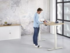 RK office Zit-sta bureau elektrisch Stable 160x80|Natuur eiken|Wit frame