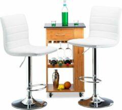 Relaxdays barkruk set van 2 - bruin - tafelkruk met leuning - barstoel hoogte verstelbaar wit