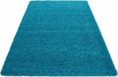Dream Hoogpolig Vloerkleed - Kaapverdië - Rechthoek - Turquoise - 65 x 130 cm - Vintage, Patchwork, Scandinavisch & meer stijlen vind je op WoonQ.nl