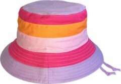 Emthunzini Hats - UV Bucket hoed voor meisjes - Charlie - Roze/Oranje streep - maat 55CM