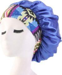 Bonnet Satijn XL|Slaapmuts Satijn|Hoofddeksel|Unisex|Cabantis|Blauw Kente Clothes