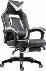 NiceGoodz Gamestoel met voetensteun - Bureaustoel ergonomisch - Bureaustoelen voor volwassenen - Zwart - Wit