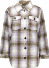 Only Onldeena-oma L/s Check Shacket Cc P 15223057 Cloud Dancer/w. Purple