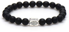 Karma 86887 Armband Onyx Matt Silver Logo Tube 20 cm