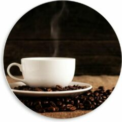 Beige KuijsFotoprint Forex Wandcirkel - Kopje Koffie met Koffiebonen - 50x50cm Foto op Wandcirkel (met ophangsysteem)