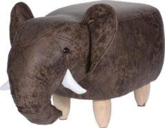 Grijze Home&Styling Home&Styling Kruk olifant-vorm 64x35 cm
