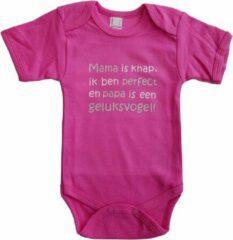 """Merkloos / Sans marque Roze romper met """"Mama is knap, ik ben perfect en papa is een geluksvogel"""" - maat 68 - vaderdag, cadeautje, kraamcadeau, grappig, geschenk, baby, tekst"""