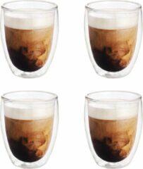 Transparante Merkloos / Sans marque 4x Dubbelwandige koffiekopjes/theeglazen 250 ml - Koken en tafelen - Barista - Koffiekoppen/koffiemokken - Dubbelwandige glazen