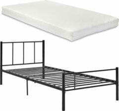 En.casa Metalen bedframe incl. bedbodem en matras zwart 90x200 cm