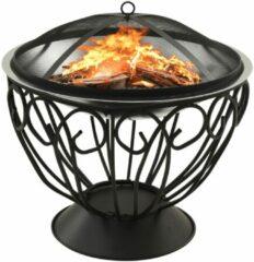 Zilveren VidaXL Vuurplaats en barbecue 2-in-1 met pook 59x59x60 cm rvs