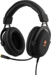 Oranje DELTACO GAM-030 Stereo Gaming Headset, 57mm drivers, 2 x 3.5 mm mini-jack, volume op headset, LED verlichting, zwart